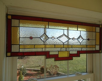 """Tiffany Styled Stained Glass Transom Window Panel Valance Curtain 27""""x13"""""""