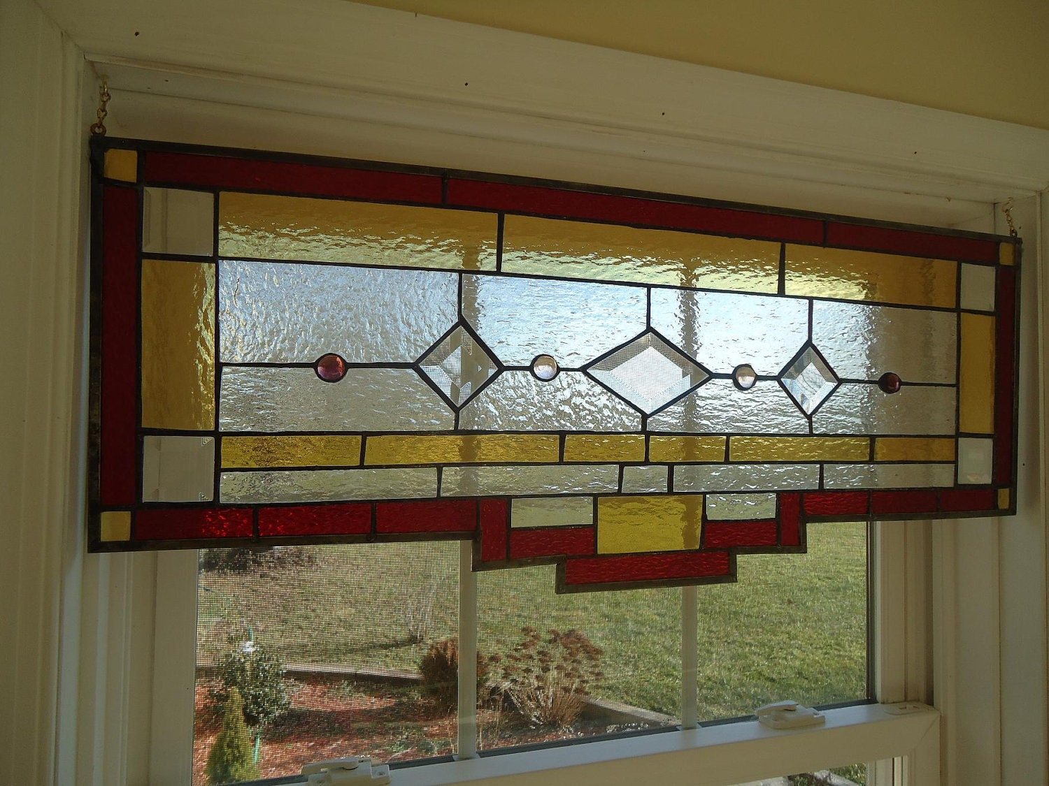 Tiffany styled stained glass transom window panel valance for Transom windows