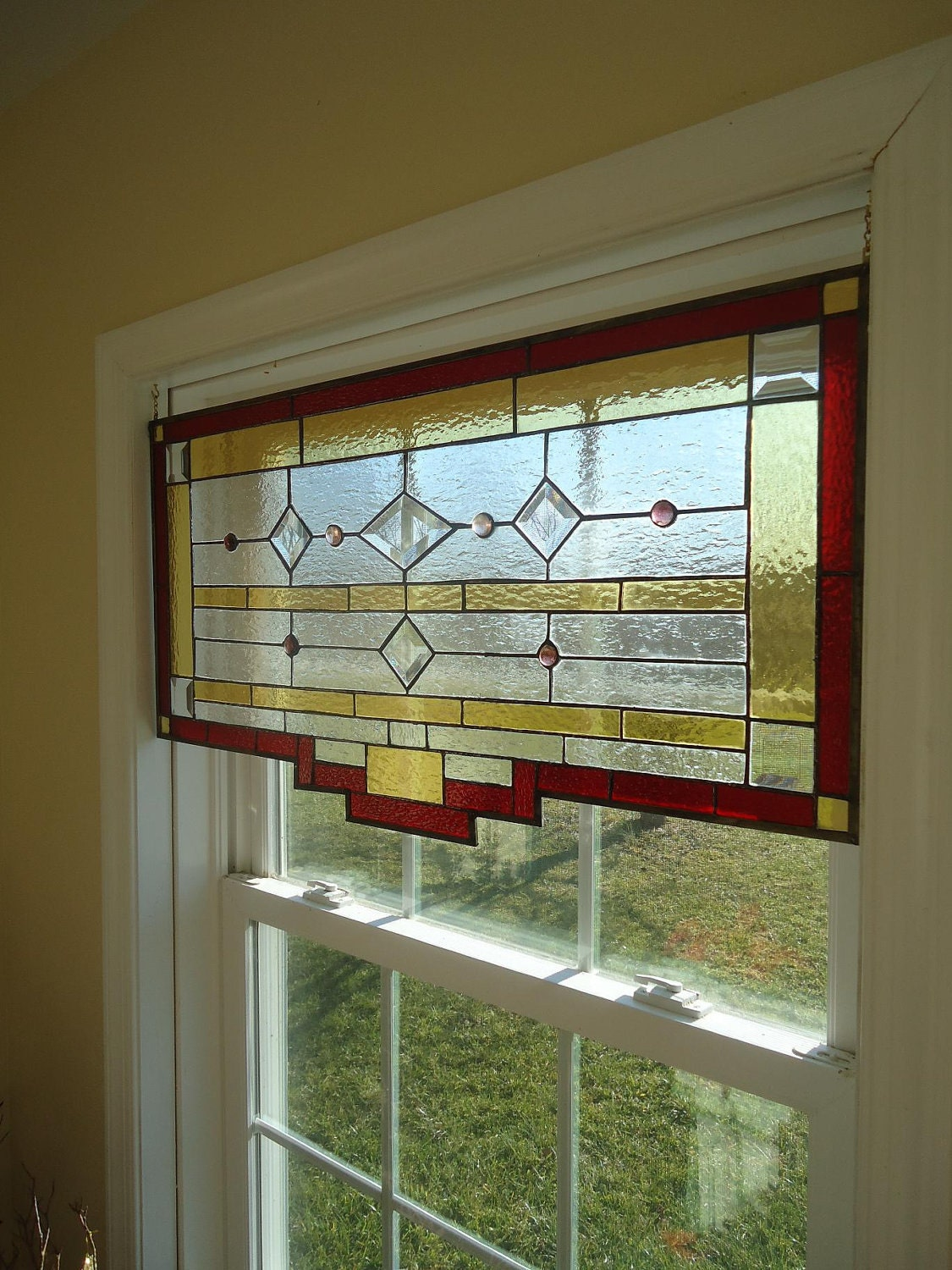 Tiffany Styled Stained Glass Window Panel Curtain Valance