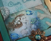 OCEAN DREAMS ocean angel mermaid jewelry box with mahogany wood and tile, made to order