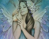 SERENITY Ocean Angel with Shells, Dolphins and Sea Turtles 8 x 10 giclee print by Jessica Galbreth