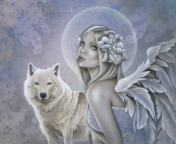 Items similar to WINTER WINGS angel with white wolf 10 x 8 ...