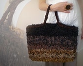 Brown knitted leather tote bag