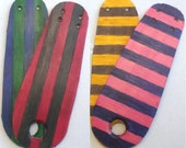 Leather Toe Guards pair for Roller Derby Skates Team Colours (Striped)