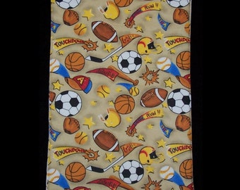 Burp Cloth Sports Score featuring football, soccer and basketball, BC053
