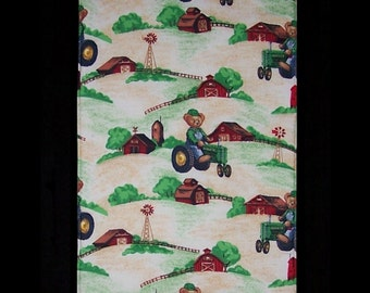 Burp Cloth Farmer Ted features barns and a teddy bear farmer plowing his field, BC032