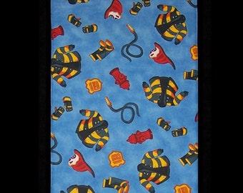 Burp Cloth Little Fireman, hoses and fireman coats, BC042