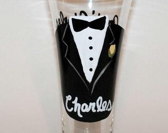 Hand Painted Wedding Tuxedo Pilsner