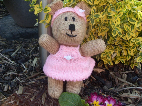 Baby, Children & Girls Pink Ballerina Flower Girl Bear Soft Doll Toy (suitable from birth) Hand Knitted