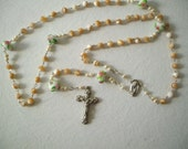 SALE Rosary: Mother of Pearl, Pearls, Lampwork, Silver
