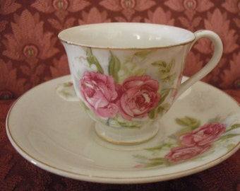 Bone China Pink Roses  Demitasse Cup and Saucer, Made in Occupied Japan  ECS