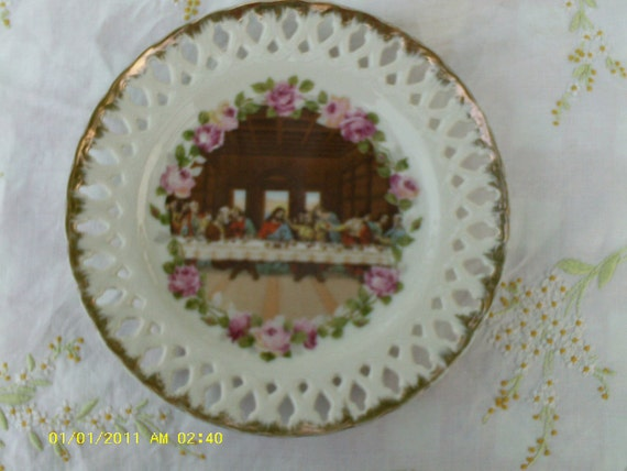 Vintage China Last Supper Plate  ECS