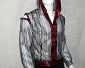 Mens Sheer striped hoodie with metallic burgundy trim