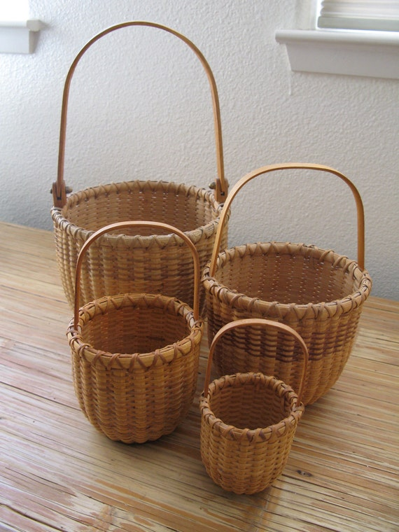 Signed Folk Art  Four Nesting Baskets Handmade in Nantucket by Baird