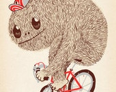 Giclee Print Illustration Art Bicycle Character Fur Hairy On A Fixie