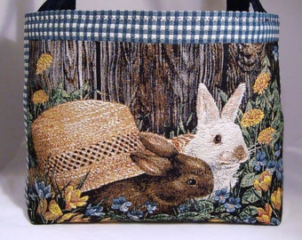 Bunny Rabbits with Straw Hat and Gingham Motif Tapestry Tote Bag with Quilted Lining and Inside Pockets