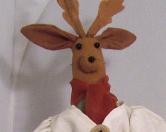 Whimsical Folk Art Homespun GIrl Reindeer in Holiday Attire Wallhanging or Doll Home Decor