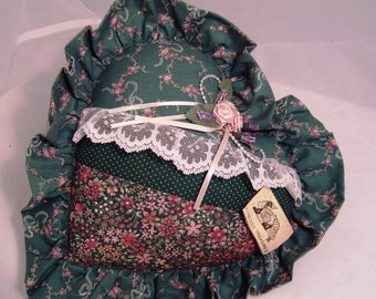 Strip-Quilted Ruffled Green Victorian Pillow with Vintage Pink Roses