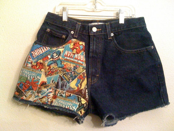 marvel superheroes High Waisted Shorts 28 inches