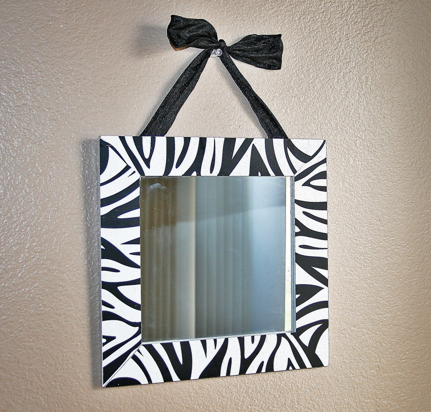 Zebra Wall Art Mirror With Black Bow