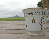 Bunny and stars on a re-birthed vintage tea cup