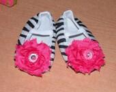 Zebra and Hot Pink Shabby Flower Bling Crib Shoes