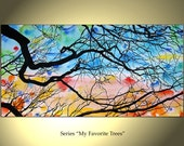 Tree Painting Flowers Original Modern Landscape Abstract