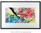 Print Tree Flowers Original Modern Landscape Abstract