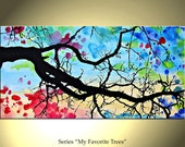 Tree Painting Original Landscape Original Contemporary Expressionist Art Acrylic on Canvas by Colorina Art