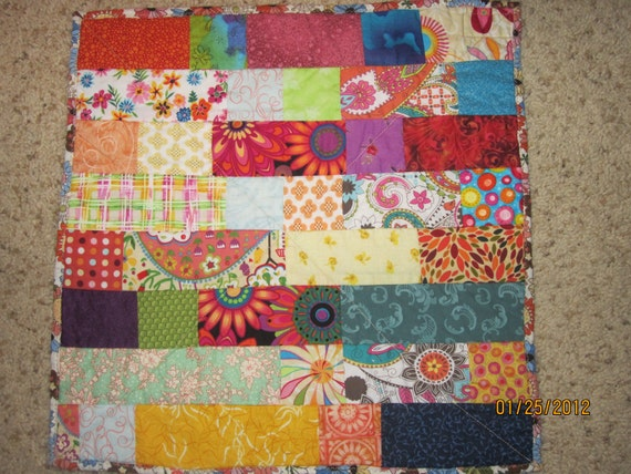 Multi colored Doll Quilt, Table Topper, Stroller Quilt