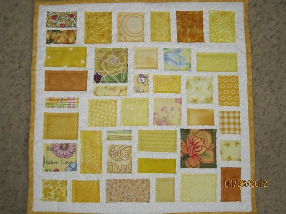 """Yellow """"Ticker Tape"""" Baby Quilt - Doll Quilt - Table Topper"""