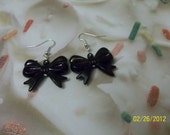 Handmade Kawaii or Rocker Style Earrings with Black Bows & Black Accent Beads