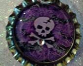 PURPLE BLACK SKULL bottlecap necklace keychain zipper pull badge reel
