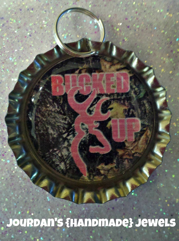 Pink and camo BUCKED UP BROWNING deer bottlecap necklace keychain zipper pull badge reel