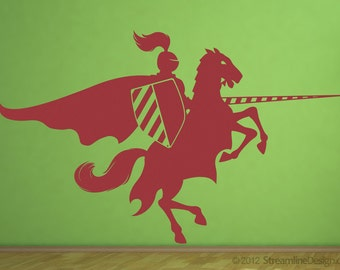 Jousting knight on horseback removable wall vinyl art, fantasy wall sticker knight on horseback joust knight sticker boys room wall art