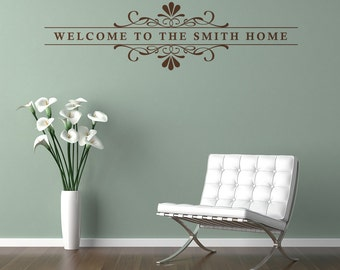 Welcome Family or Saying Personalized Removable Wall Vinyl, customize with your text wall business lettering entry way foyer wall decal