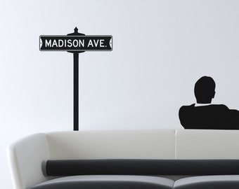Vintage Street Sign Removable Vinyl Wall Art, mad men madison ave ad men street sign wall decal don draper madison avenue street sign