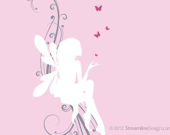 Fairy on Scrollwork with Butterflies Removable Vinyl Wall Art, girls room wall sticker fairy theme fairy decor childs room butterflies