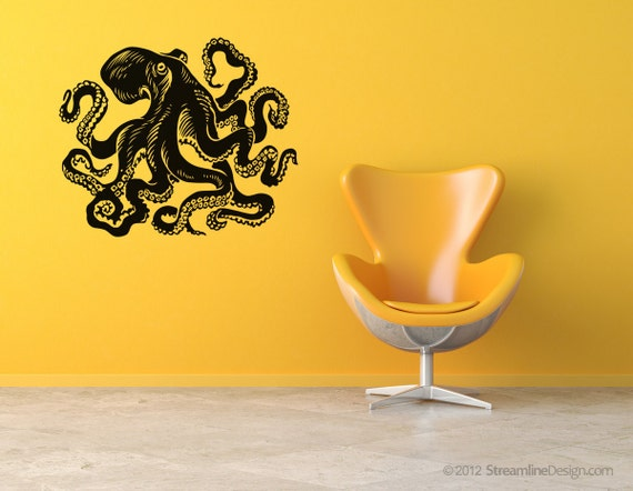 Giant octopus vinyl wall art. 54 inches wide Removable Vinyl Wall Art, nautical art tentacles octo kracken sticker squid decal