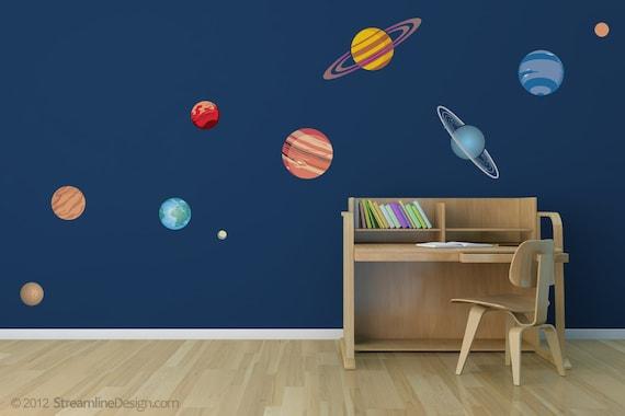 Planetary System Ten Piece Printed Matte Removable Vinyl Wall Art, childs bedroom kids room planets jupiter mars saturn planet decals mars