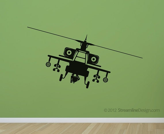 Apache Attack Helicopter Removable Vinyl Wall Art Decor, boys room army helicopter airplanes helicopters marines military wall decor