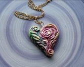 Art Heart Pendant, Hand-sculpted Polymer Clay with Colorful Iridescent Acrylic paint, Curls, Swirls and Braids