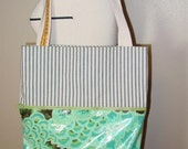 Expandable Shopping Tote - laminated cotton, ticking, cotton webbing
