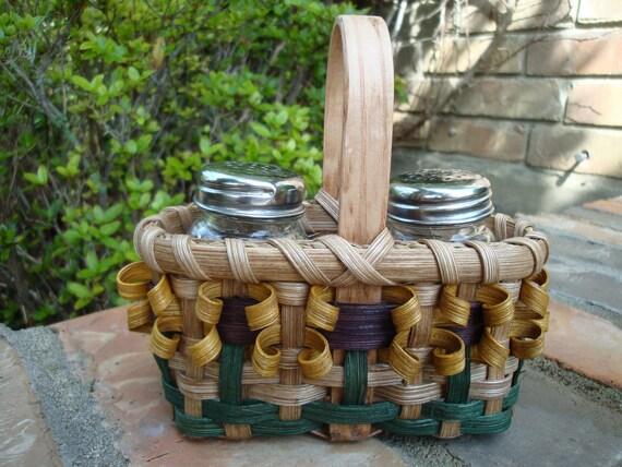 Sunflower Salt & Pepper Shaker Basket Handwoven