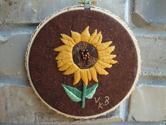 Sunflower Embroidery Hoop Art