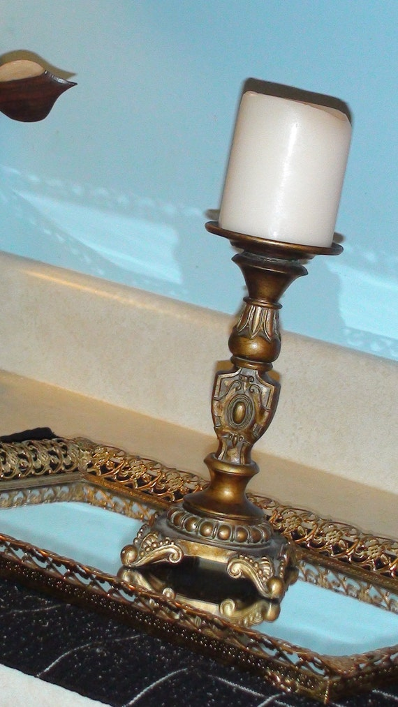 "Candle holder Pillar Gold scroll 8 1/2"" tall"