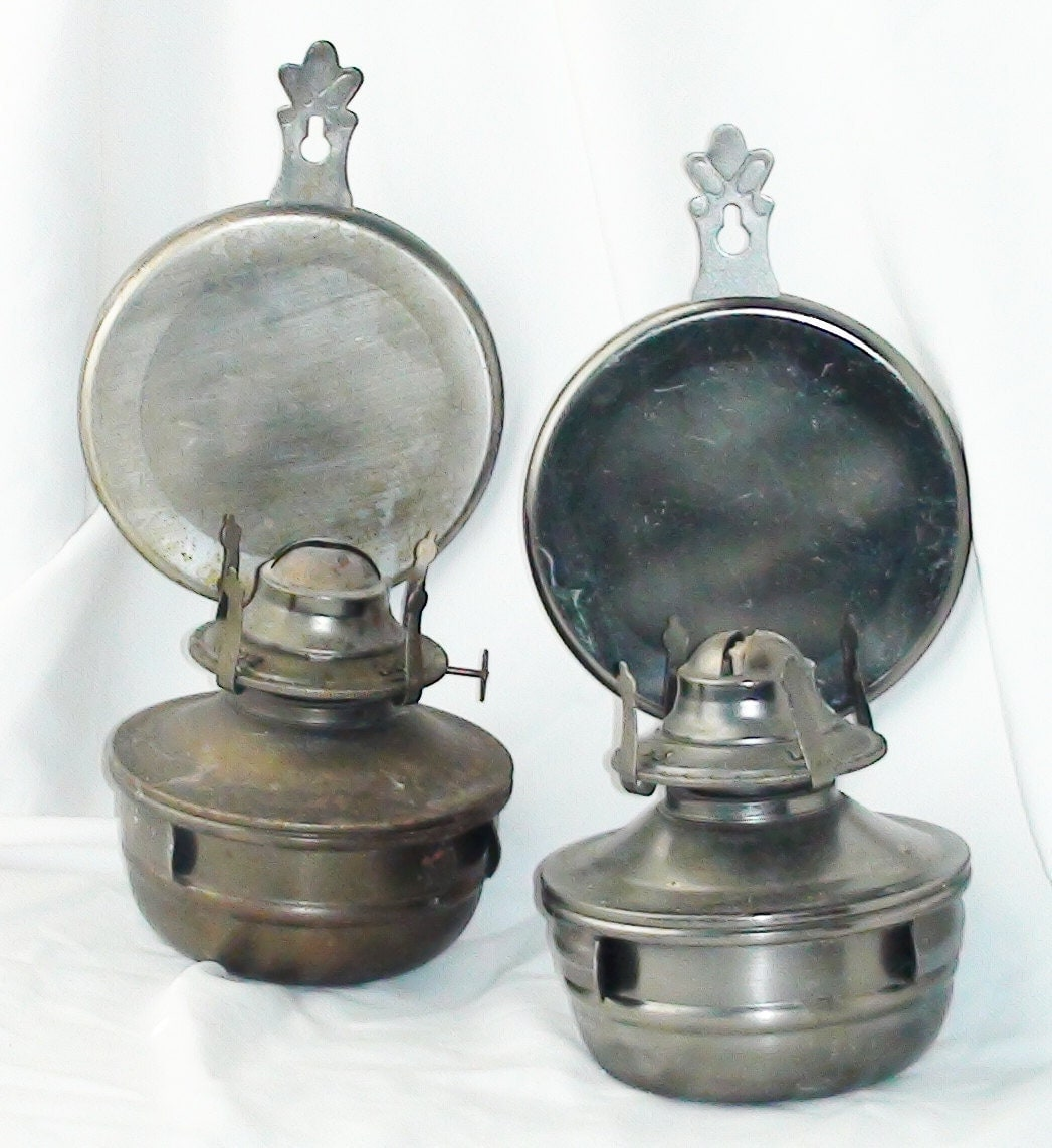 Hanging Kerosene Lamps With Metal Reflectors Antique By