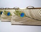Bridesmaid gift idea, EllenVintage Silk Peacock Clutch, set of 5, Wedding clutch, Bridesmaid clutch