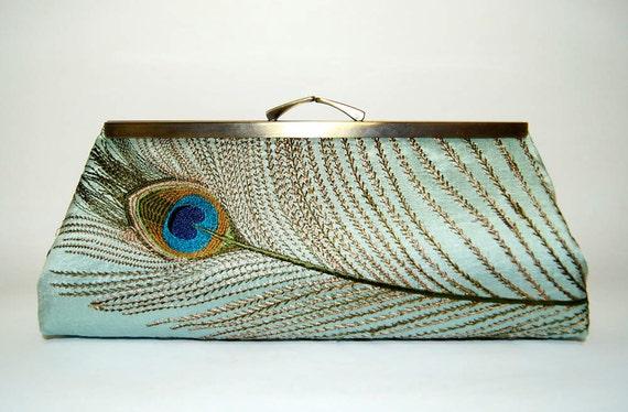 EllenVintage Silk Peacock Clutch in Mint, Wedding clutch, Bridal clutch, Bridesmaid clutch, Evening bag, Gift ideas