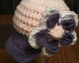 Crochet  Newsgirl  Hat  with Large Flower - 100% Cotton - -  MADE TO ORDER